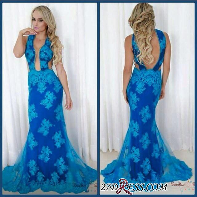 2020 Blue Backless V-neck Sheath Sweep Sexy Train Evening Gown