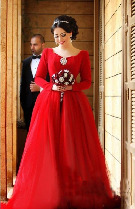 Newest Long Sleeve Tulle Red Wedding Dress Bowknot Long Train