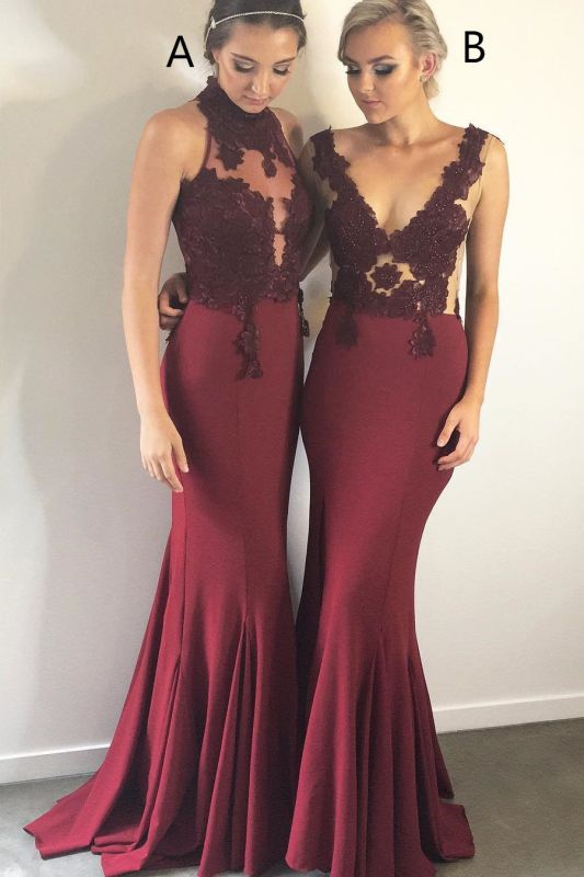 Gorgeous Halter Sleeveless Mermaid Evening Gowns | Burgundy Lace Appliques Prom Dress On Sale