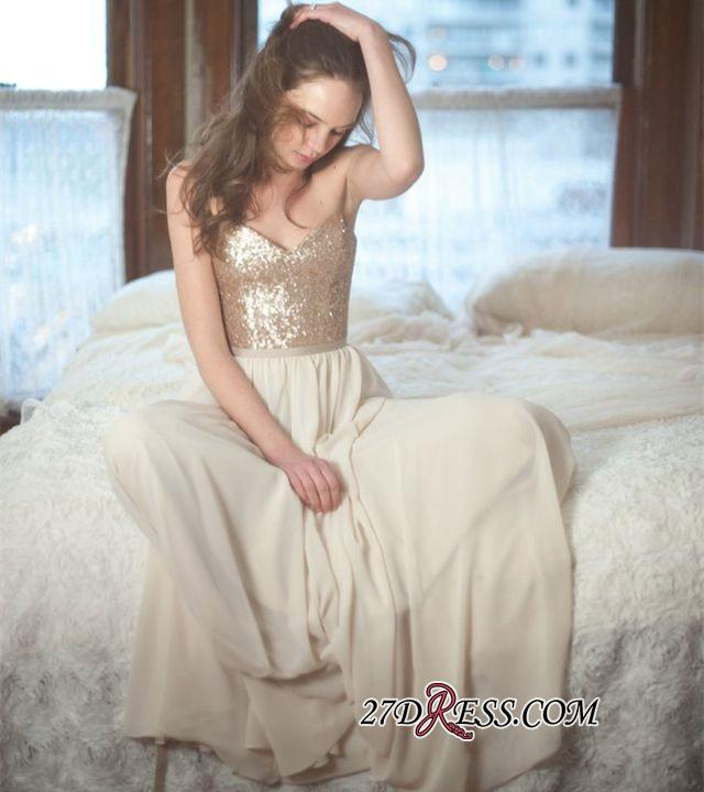 Sleeveless Simple A-Line Sequins Spaghetti-Straps Prom Dresses