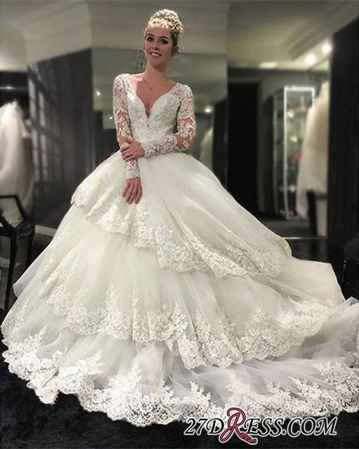 2020 Lace-Appliques Long-Sleeve Three-Layers Delicate Ball-Gown Wedding Dress