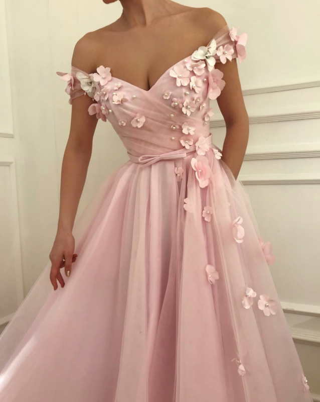 Elegant Off-the-Shoulder Pink Prom Dress | 2020 Long Flowers Tulle Evening Gowns TMD BC0908