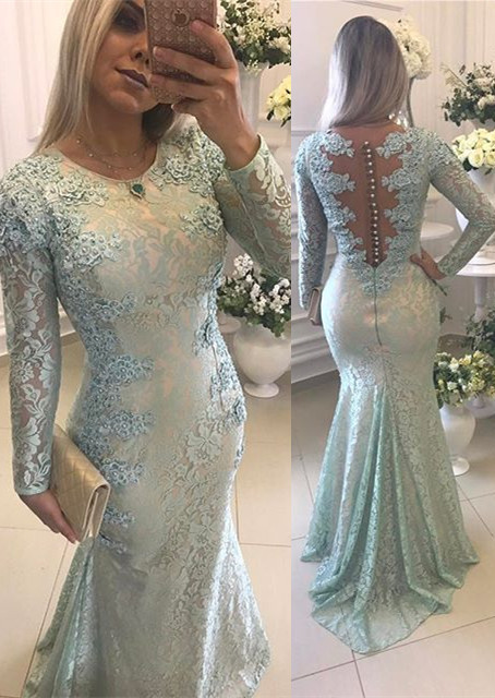 Glamorous Long Sleeve Lace 2020 Evening Dress Mermaid Zipper Button Back Long Party Dress BMT BA9342