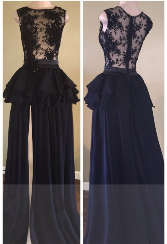 Delicate Lace Chiffon Black Long Prom Dress | Front Split 2020 Formal Dress