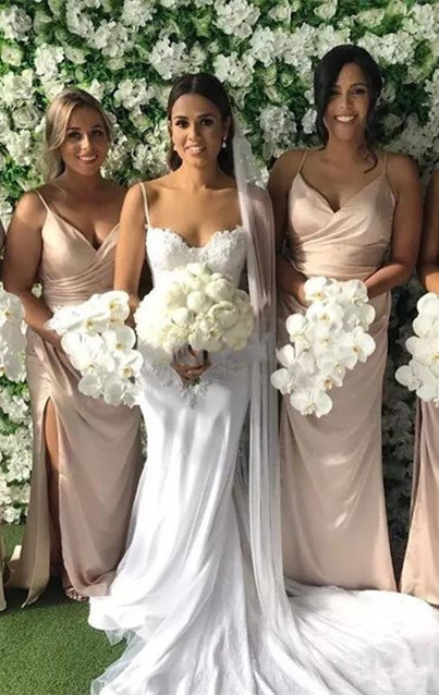 Elegant Spaghetti-Strap V-Neck Long 2020 Bridesmaid Dress On Sale With Slit