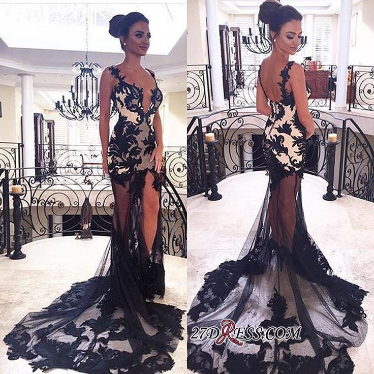 Sexy black lace prom dress,sheer-skirt party dress BK0