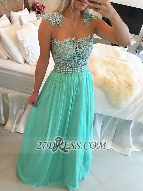 Glamorous Chiffon Long Prom Dress With Pearls And Lace BT0