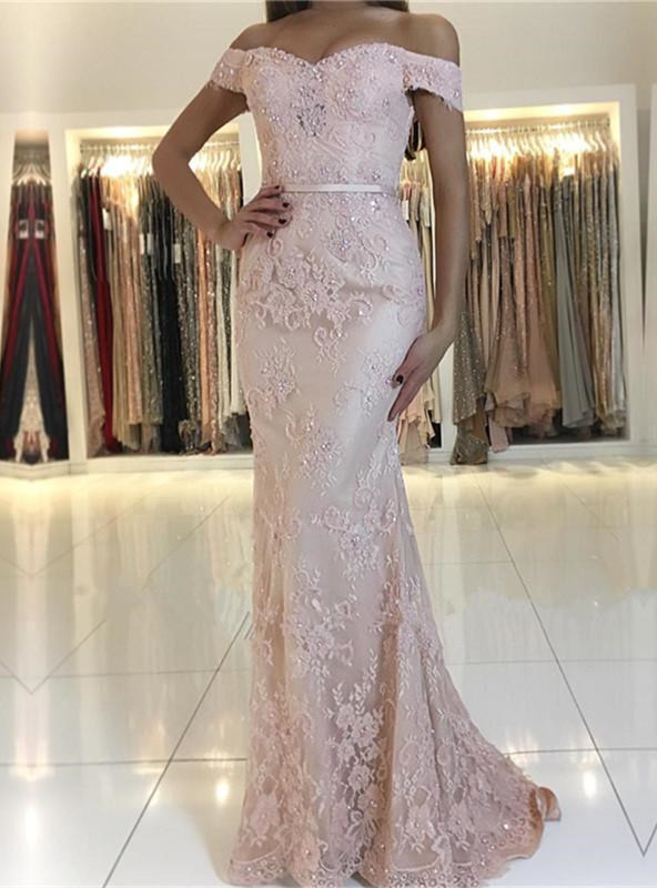 Charming Pink Lace Prom Dresses | 2020 Mermaid Evening Gowns On Sale BC0426