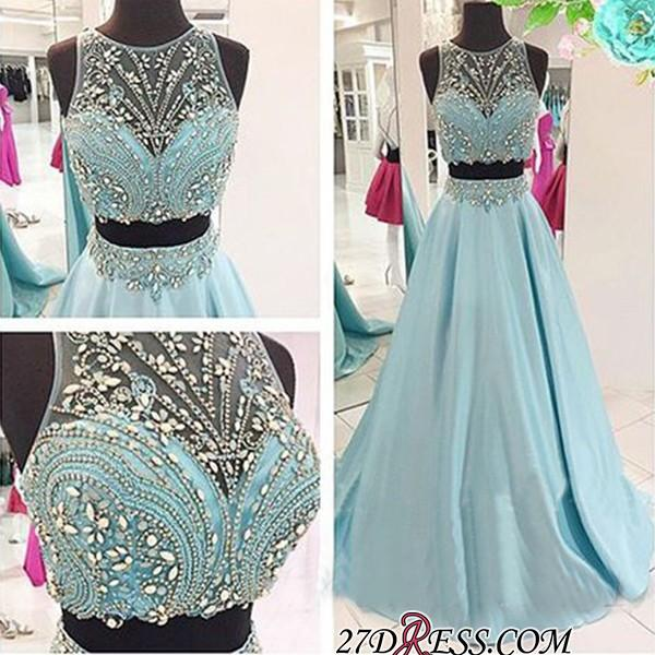 Two-Piece Crystals Elegant Long Beaded Blue Prom Dresses