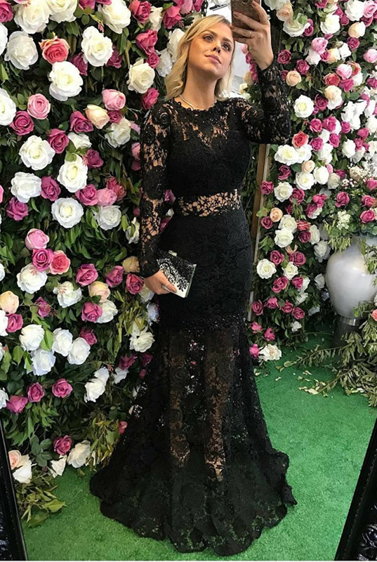 Sexy Black Long Sleeve Lace Prom Dress 2020 Sheer Party Gowns On Sale