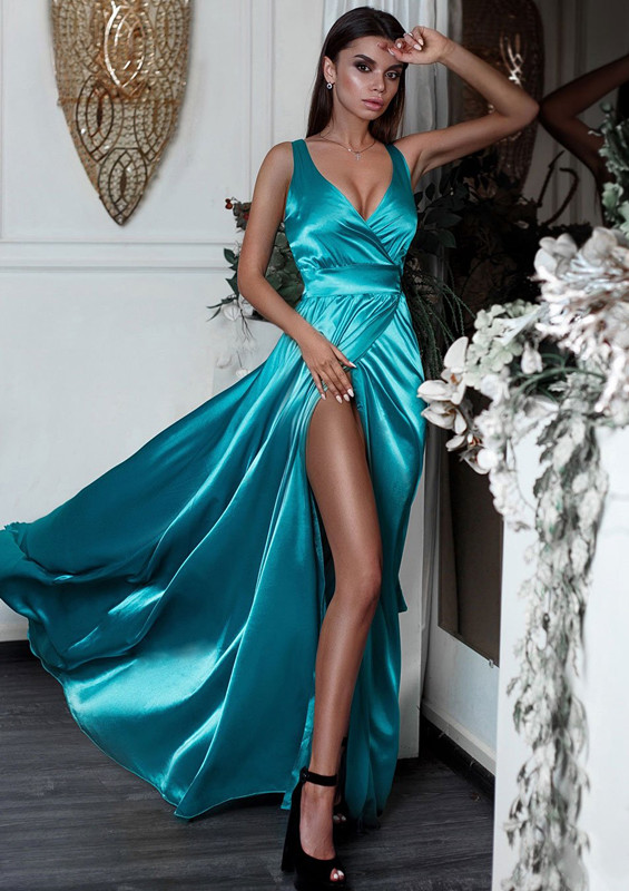 V-Neck Sleeveless Prom Dress | 2020 Evening Dress With Slit BC0244