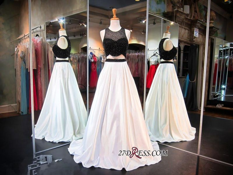 2020 Sleeveless Newest Beads Sweep-Train Two-Piece A-line Evening Dress