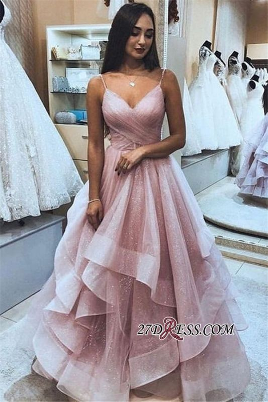 Elegant Ruffle Tulle A-Line Prom Dress   Pink Spaghetti-Straps Sleeveless Prom Gown