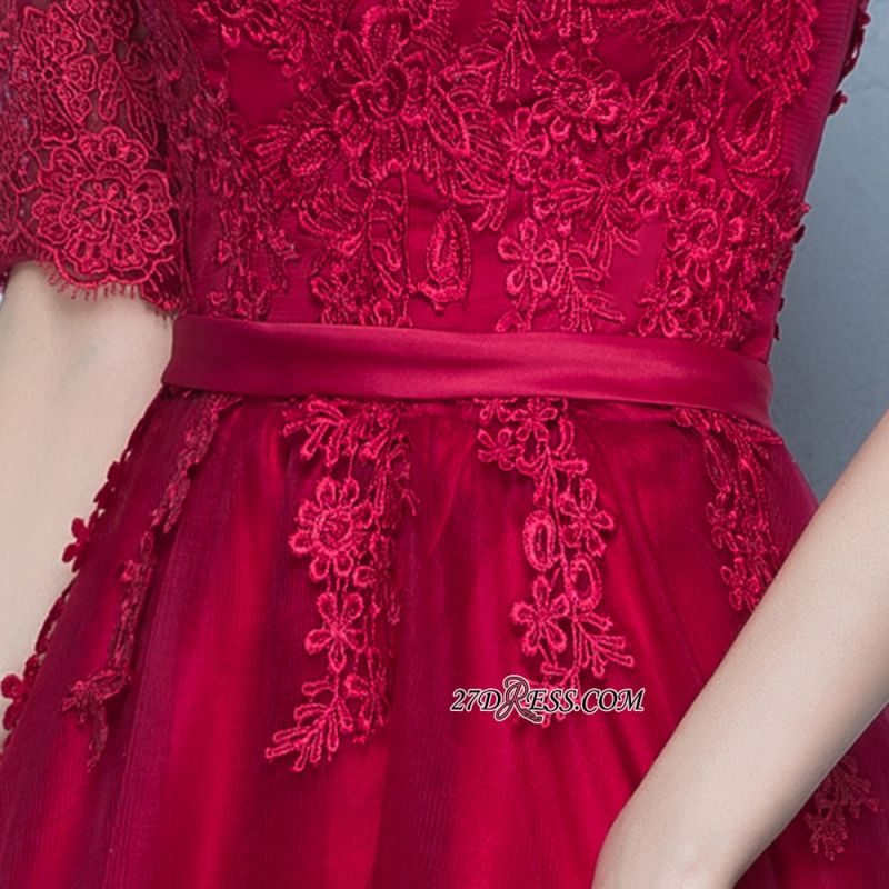 Floor-Length Half-Sleeves A-Line Lace Lace-Up Glamorous Evening Dresses