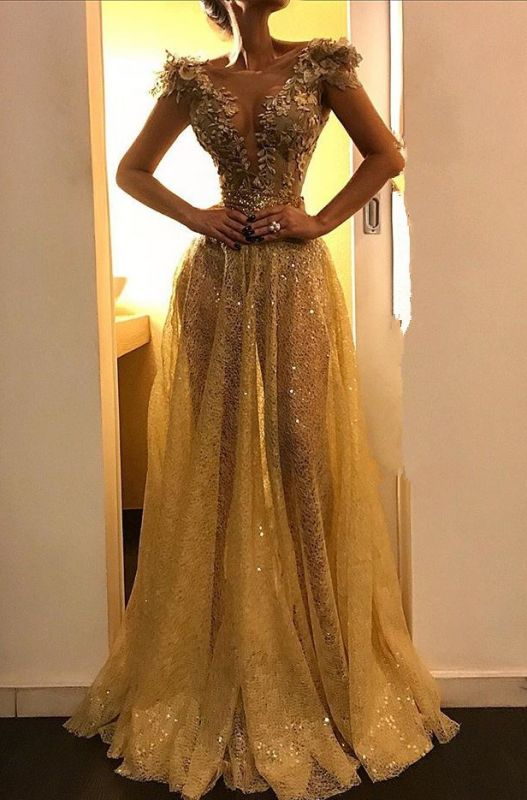 2020 Elegant Cap Sleeves A-Line Evening Gown | Sexy Gold Sequins Appliques Floor-Length Prom Dress BC0913