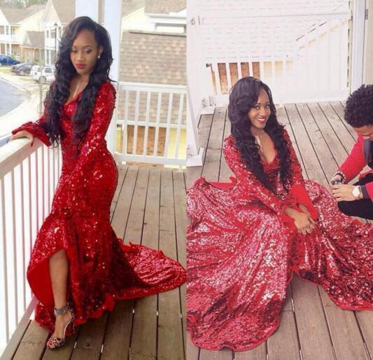 2020 Hi-Lo Red Mermaid Gorgeous Sweep-Train Long-Sleeve Sequined Prom Dress