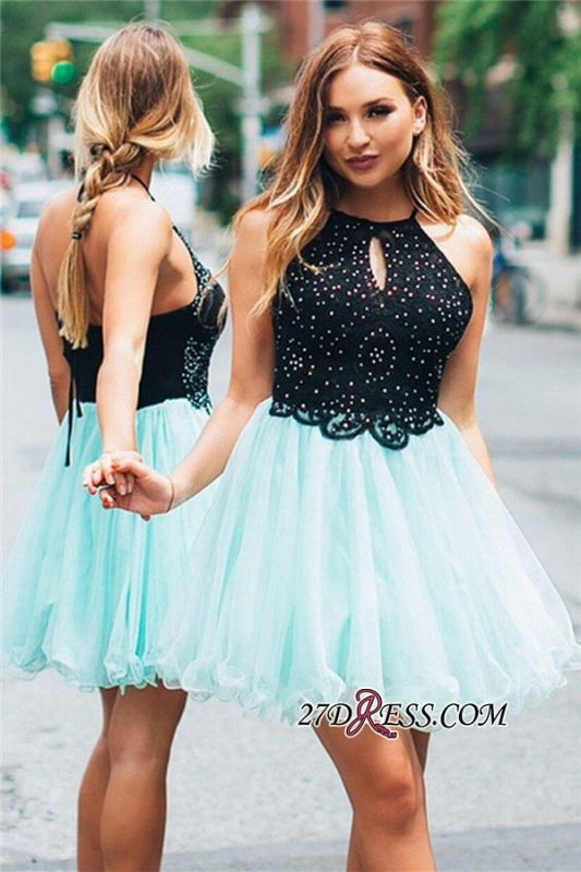 Halter A-line Beaded Lace Ruffles Short Homecoming Dress
