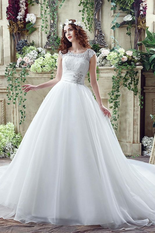 Elegant Illusion Lace Beadings 2020 Wedding Dress Cap Sleeve Zipper