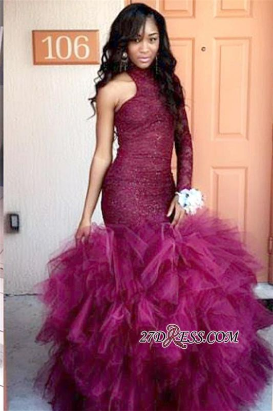Lace Latest Sheath One-Sleeve High-Neck Specail Tulle Puffy Prom Dress BK0