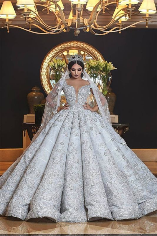 Gorgeous Puffy  Lace Appliques Wedding Dress Ruffles Ball Gown Bridal Dresses