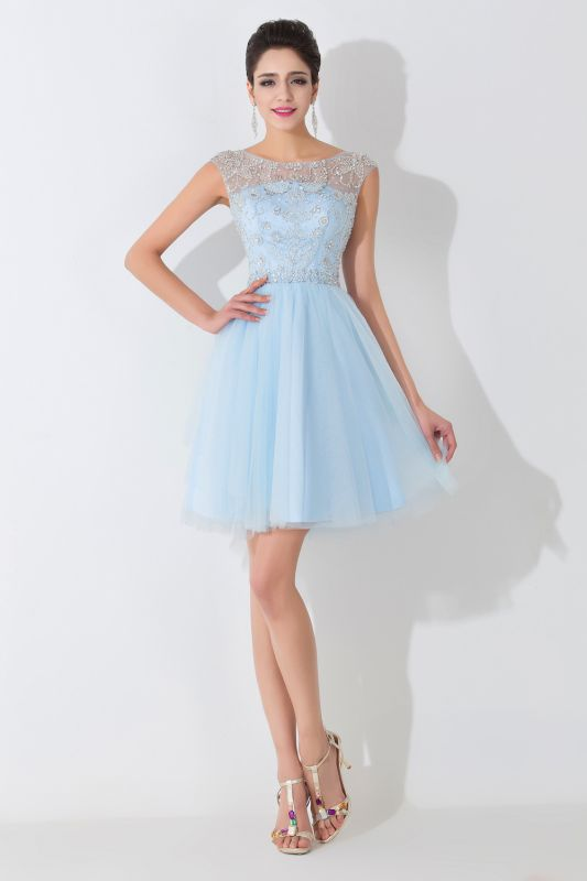 Glamorous Illusion Sleeveless Short Cocktail Dress With Crystals