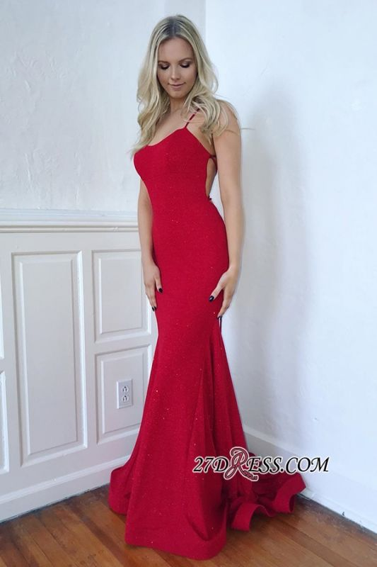 Spaghetti-Straps Gorgeous Mermaid Lace-Up Red Prom Dresses