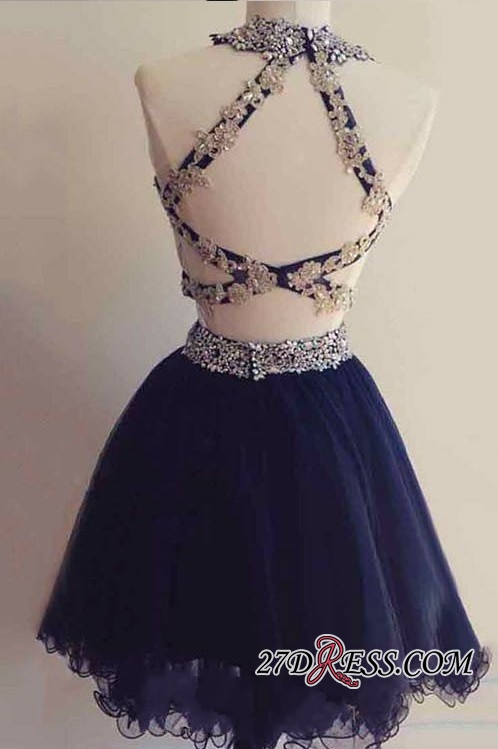 Navy Two-Pieces Beaded Cheap Short Blue Homecoming Dresses BA6928