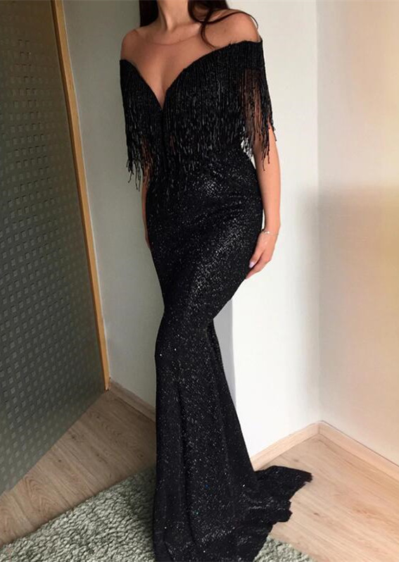 Sexy Crew Sequins Mermaid 2020 Evening Gowns | Tassel Long Black Prom Dress On Sale