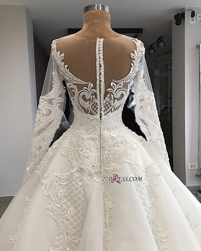Appliques Charming Long-Sleeves Sweetheart Lace Jewel Wedding Dresses