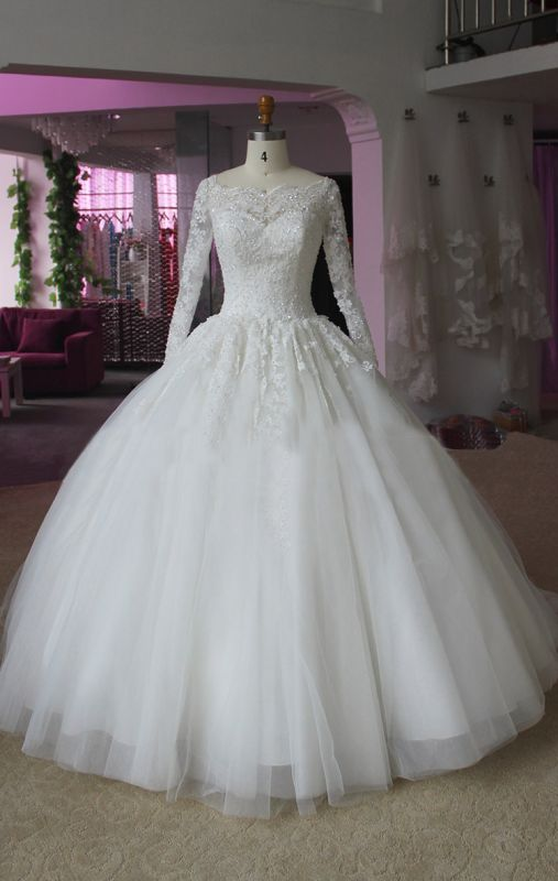 Elegant Lace Appliques Ball Gown Wedding Dress 2020 Long Sleeve