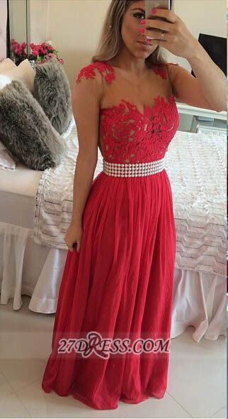 Elegant Chiffon Long Red Prom Dress With Pearls And Lace Appliques BT0