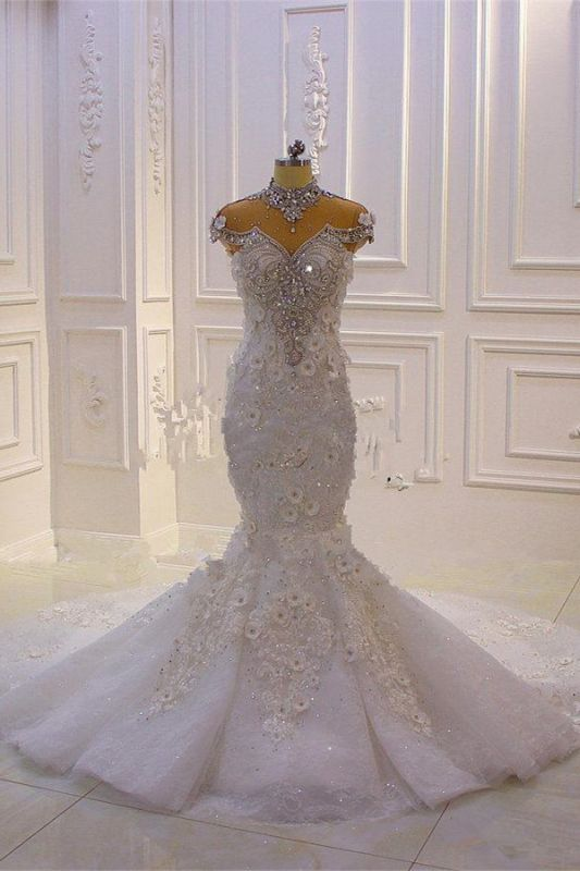 Delicate Beading Appliques Mermaid Bridal Gowns Sheer Tulle Sparking Wedding Dresses