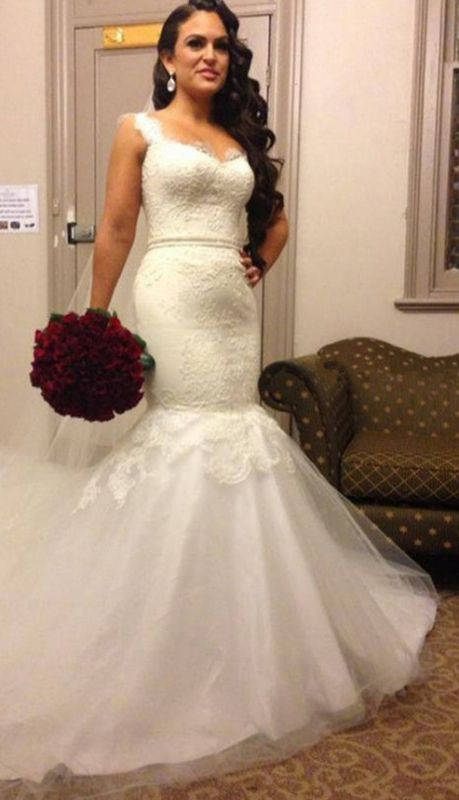 Stunning Sweetheart Straps 2020 Wedding Dress Lace Mermaid Tulle