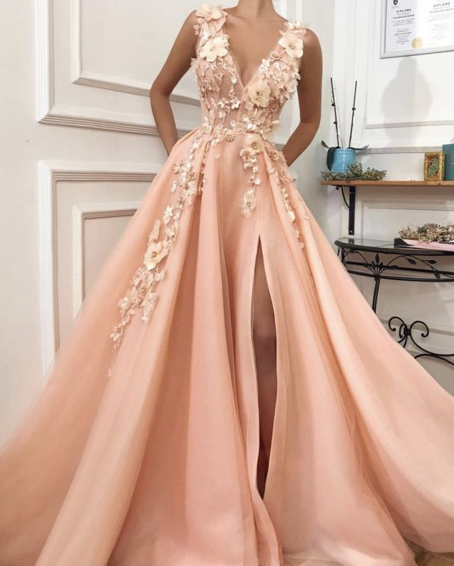 Elegant V-Neck Sleeveless 2020 Evening Gowns | Slit Prom Dress With Flowers On Sale TMD BC0892
