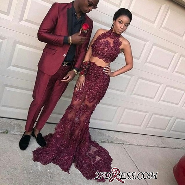 Two-pieces burgundy prom dress,mermaid evening dress long BK0