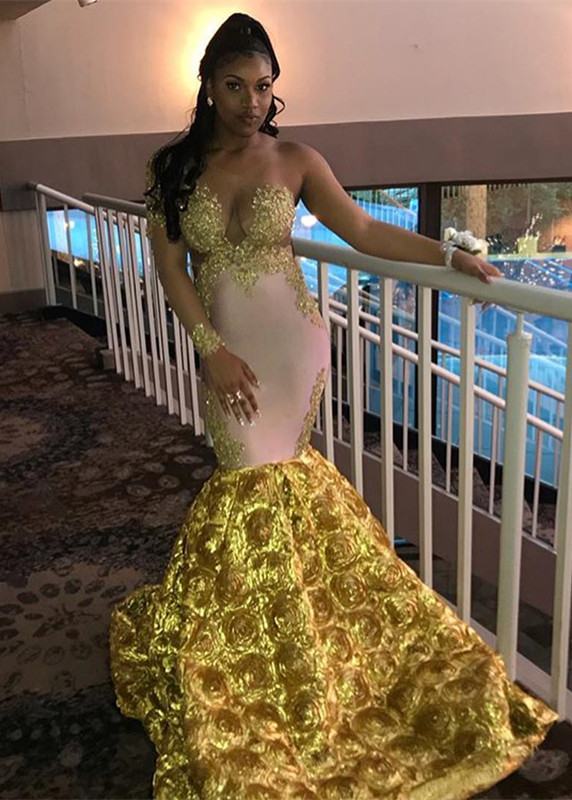 Gorgeous Long Sleeve Yellow Prom Dress | 2020 Mermaid Evening Gown With Flower Bottom BC2060