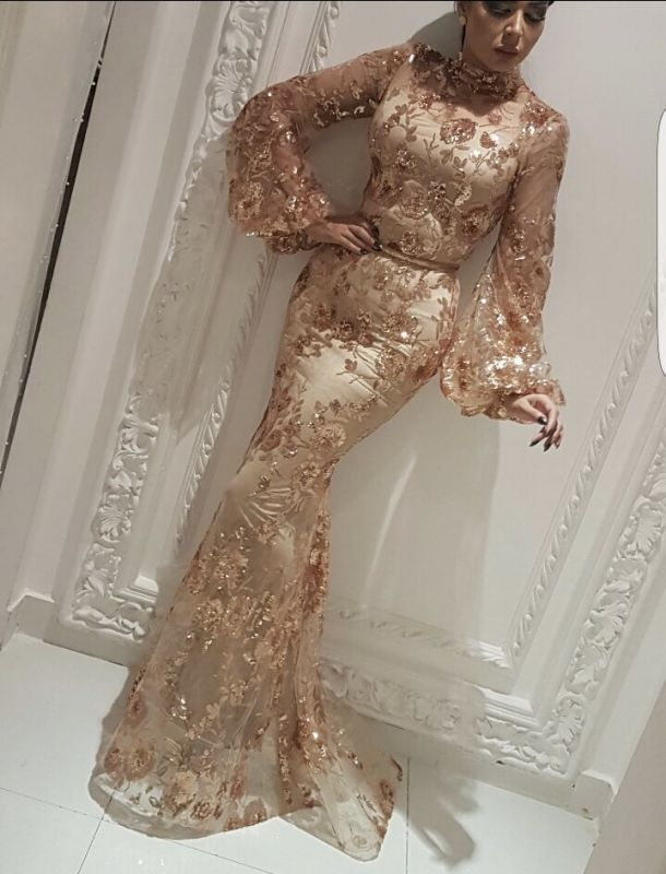 Modest High Neck Long Sleeves Evening Gowns | 2020 Mermaid Sequins Appliques Prom Dress On Sale BC2334