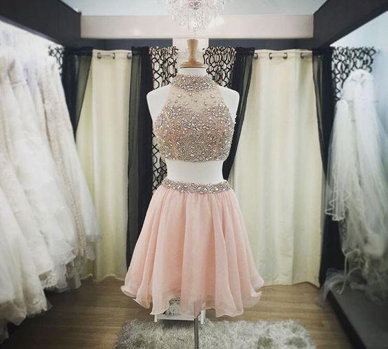 Luxury Pink Halter-Neck Two-Piece Blush Crystals Short Homecoming Dresses