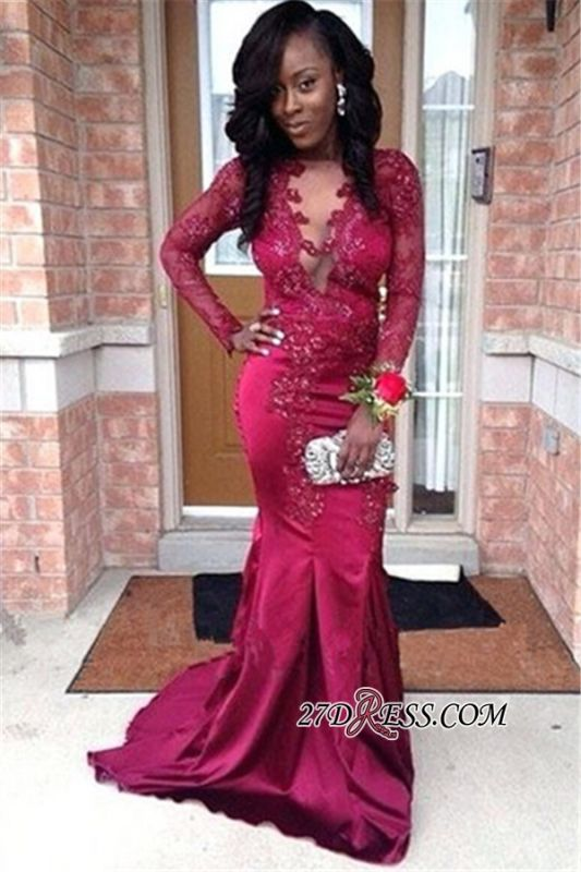 Elegant Long Sleeves Mermaid Prom Gowns   See Through Lace Appliques Evening Gowns BK0
