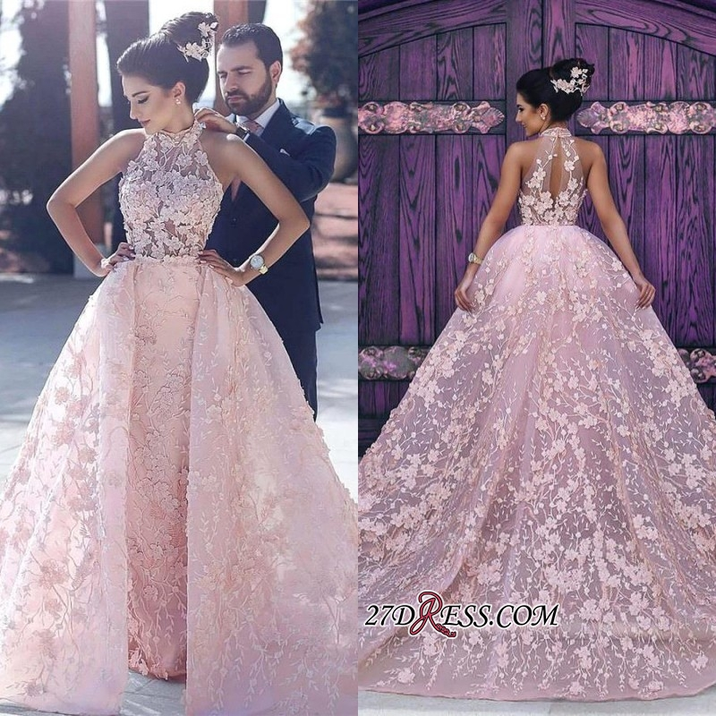 Sleeveless Glamorous Lace-Appliques Halter Pink Evening Dress