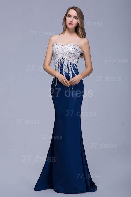 Newest Illusion Beadings Crystals Mermaid Evening Dress Floor-length