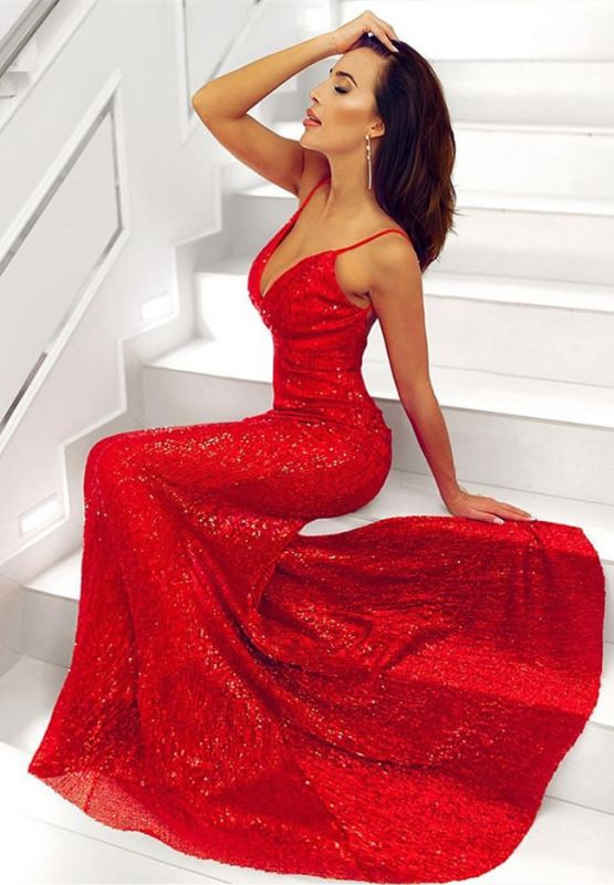 Glamorous V-Neck Sleeveless Sequins Prom Dress   Mermaid Backless Long Red Evening Gowns