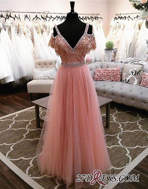 Lace Floor-length Charming Beading V-neck Pink A-line Evening Dress