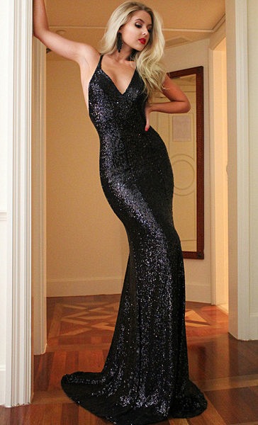 Sexy Black Sequins Prom Dress 2020 Mermaid Backless CE0215