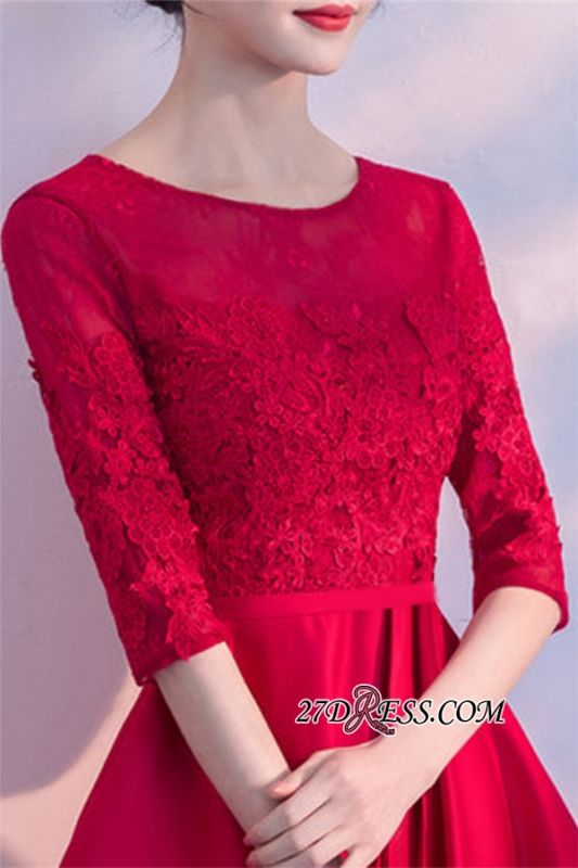 Lace Half-Sleeves Red Zipper A-Line Homecoming Dress