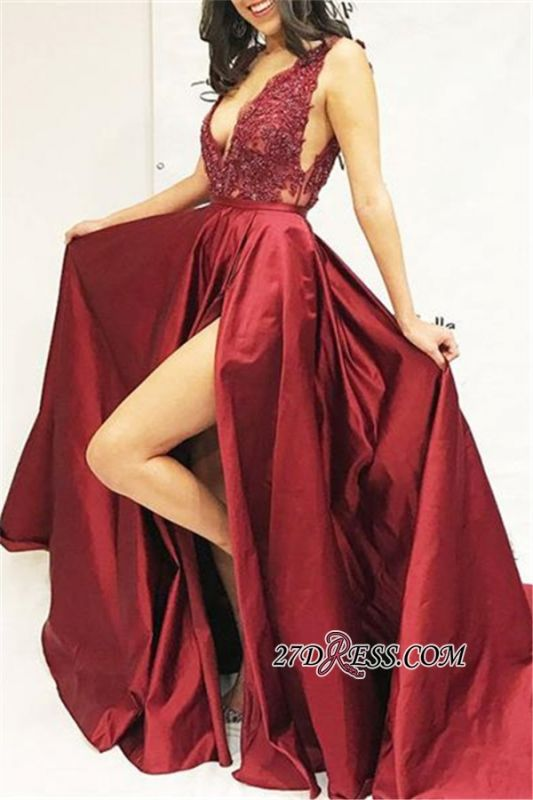 Sexy Sleeveless Side Slit Straps Prom Dresses | Cheap A-Line Appliques Sequins Evening Dresses