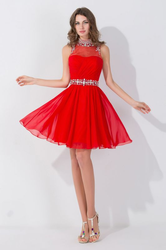 Elegant Sleeveless Red Chiffon homecoming Dress High Neck With Beadings Crystals