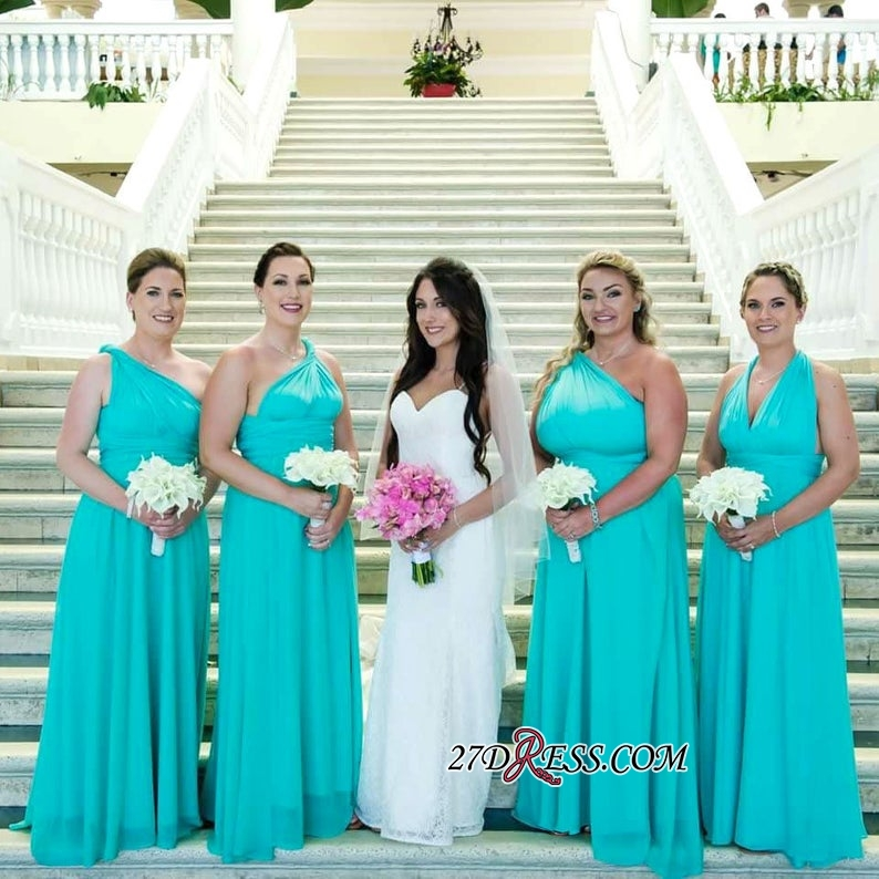 A-line Spaghetti-Straps Convertible Elegant Halter One-shoulder Long Bridesmaid Dresses