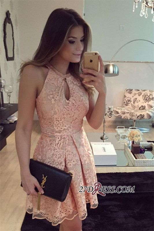 Short Keyhole A-Line Halter Sleeveless Lace Homecoming Dress