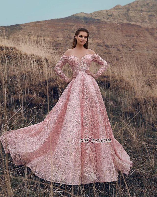 Pink Lace Applique Long-Sleeves A-Line Prom Dress | Elegant Off-The-Shoulder Princess Prom Gown